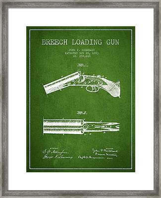 Breech Loading Gun Patent Drawing From 1883 - Green Framed Print by Aged Pixel