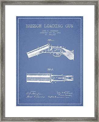 Breech Loading Gun Patent Drawing From 1883 - Light Blue Framed Print by Aged Pixel