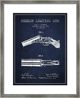 Breech Loading Gun Patent Drawing From 1883 - Navy Blue Framed Print by Aged Pixel