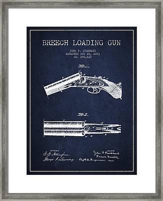 Breech Loading Gun Patent Drawing From 1883 - Navy Blue Framed Print
