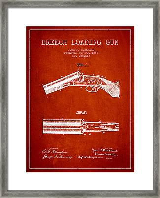 Breech Loading Gun Patent Drawing From 1883 - Red Framed Print