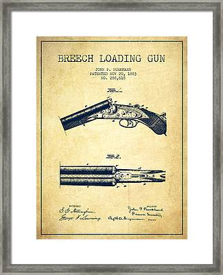 Breech Loading Gun Patent Drawing From 1883 - Vintage Framed Print by Aged Pixel
