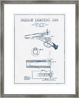 Breech Loading Shotgun Patent Drawing From 1879 -  Blue Ink Framed Print