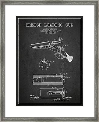 Breech Loading Shotgun Patent Drawing From 1879 - Dark Framed Print by Aged Pixel