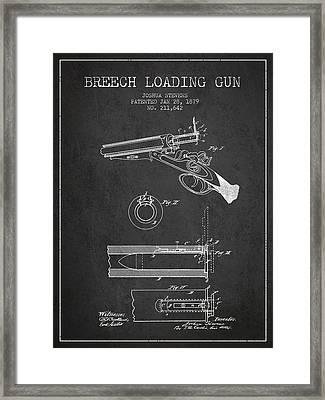 Breech Loading Shotgun Patent Drawing From 1879 - Dark Framed Print