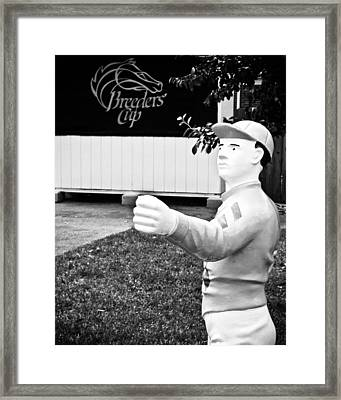 Breeders Cup Lawn Jockey Framed Print by Colleen Kammerer