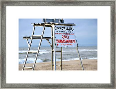 Breezy Lifeguard Chair Framed Print