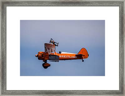 Framed Print featuring the photograph Breitling Wingwalker Cockpit Stand by Scott Lyons