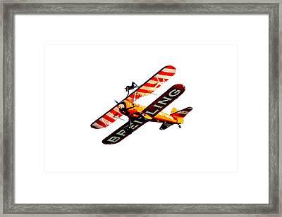 Framed Print featuring the photograph Breitling Wingwalker High Contrast Sunderland Air Show 2014 by Scott Lyons