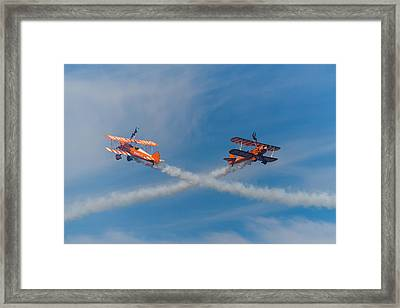 Framed Print featuring the photograph Breitling Wingwalkers Cross Sunderland 2014 by Scott Lyons