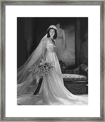 Brenda Frazier In A Herman Patrick Tappe Wedding Framed Print by Horst P. Horst