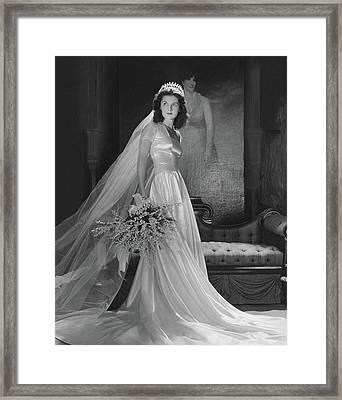 Brenda Frazier In A Herman Patrick Tappe Wedding Framed Print
