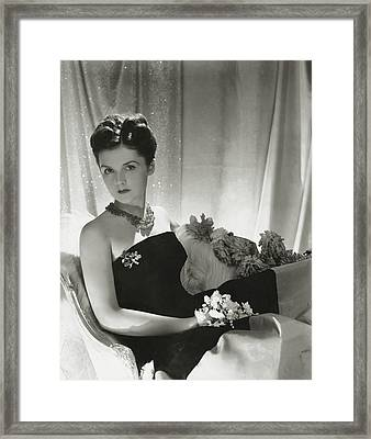Brenda Frazier Wears A Strapless Velvet Dress Framed Print