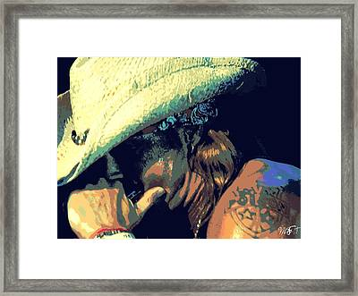 Bret Michaels With Harmonica Framed Print by Michelle Frizzell-Thompson