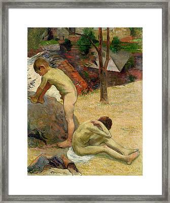 Breton Boys Bathing Framed Print by Paul Gauguin