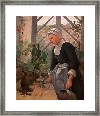 Breton Girl Looking After Plants In The Hothouse Framed Print by Mountain Dreams