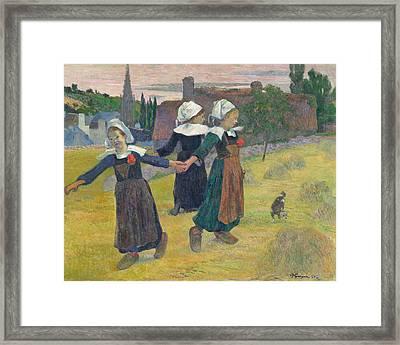 Breton Girls Dancing Framed Print by Paul Gauguin