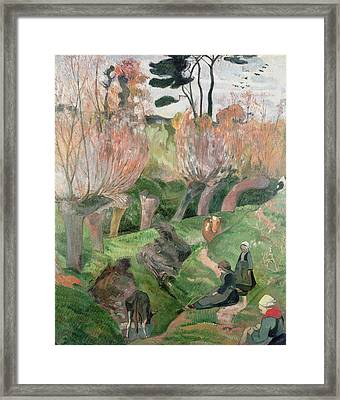 Breton Landscape  Framed Print by Paul Gauguin