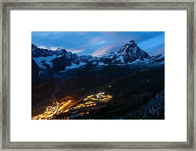 Breul-cervinia At Night Framed Print by Konstantin Dikovsky