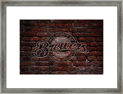 Brewers Baseball Graffiti On Brick  Framed Print