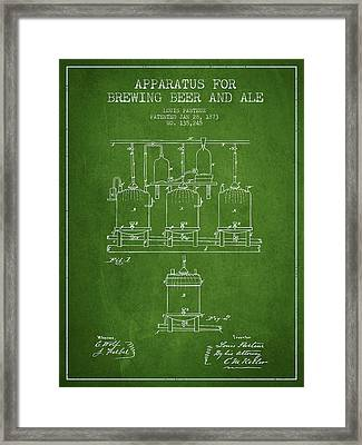 Brewing Beer And Ale Apparatus Patent Drawing From 1873 - Green Framed Print by Aged Pixel