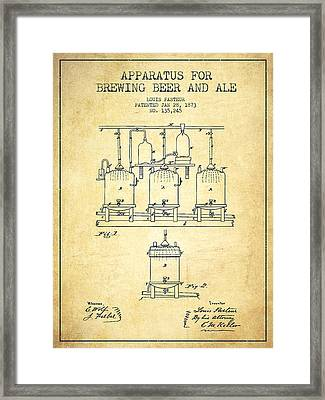 Brewing Beer And Ale Apparatus Patent Drawing From 1873 - Vintag Framed Print by Aged Pixel