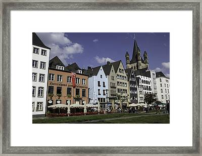 Brewpubs And Restaurants Along The Rhine In Cologne Framed Print by Teresa Mucha