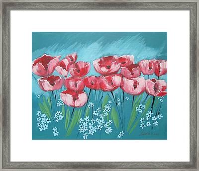 Brezzy Poppies Framed Print