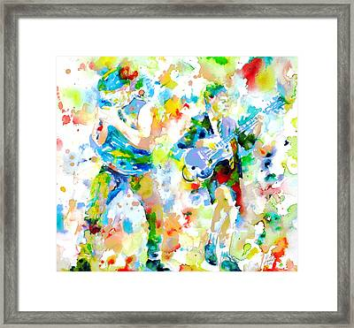 Brian Johnson And Angus Young - Watercolor Portrait Framed Print