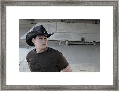 Brian Shotwell And A Naval Plane Framed Print by Carolina Liechtenstein
