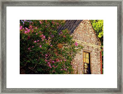Framed Print featuring the photograph Brick And Myrtle by Rodney Lee Williams