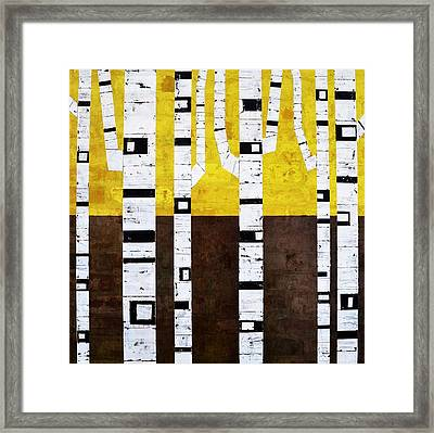 Brick Birches - Fall Framed Print by Michelle Calkins