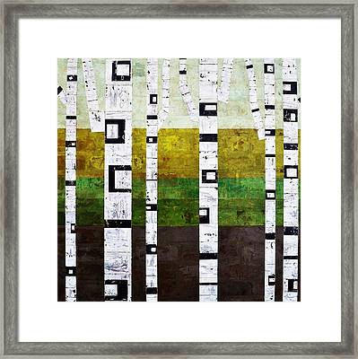 Brick Birches - Summer Framed Print by Michelle Calkins