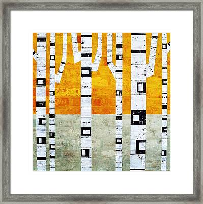 Brick Birches - Winter Framed Print by Michelle Calkins