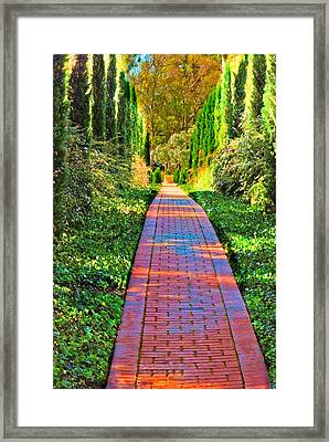 Framed Print featuring the photograph Brick Path by Joseph Hollingsworth