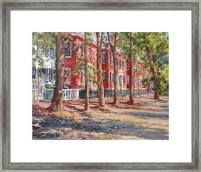 Brick Row Of Nantucket Framed Print by Sharon Jordan Bahosh
