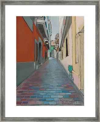 Brick Street In Old San Juan Puerto Rico Framed Print
