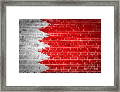 Brick Wall Bahrain Flag Framed Print