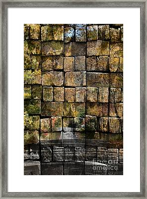 Brick Wall Of Fall Framed Print by Kathleen Struckle