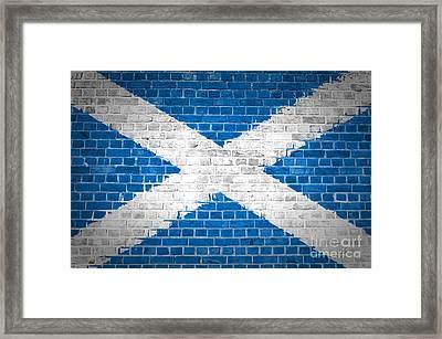 Brick Wall Scotland Saltire Framed Print