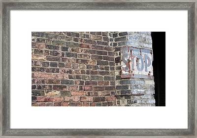 Brick Wall Stop Close Up Framed Print by Anita Burgermeister