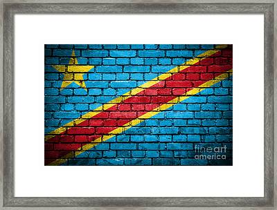 Brick Wall With Painted Flag Of Congo Democratic Republic Framed Print