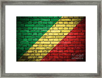Brick Wall With Painted Flag Of Congo Republic Framed Print