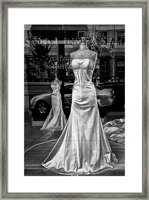 Bridal Dress Display Mannequins In Storefront Window In Black And White Framed Print