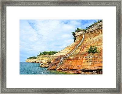 Bridal Veil Falls Pictured Rocks Michigan Framed Print by Forest Floor Photography