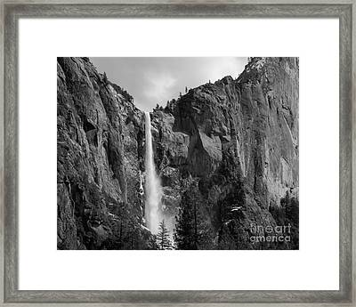 Bridalveil Falls In B And W Framed Print