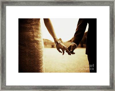 Bride And Groom Holding Hands In Sepia - Analog 35mm Black And White Film Photo Framed Print by Edward Olive