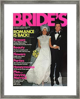 Bride And Groom On The Step Of New Yorks St Framed Print by Alberto Rizzo
