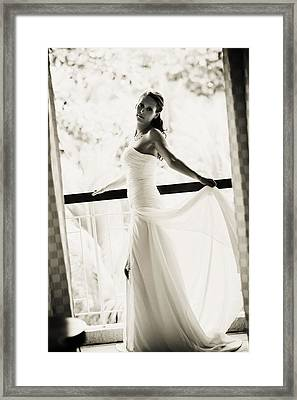 Bride At The Balcony. Black And White Framed Print