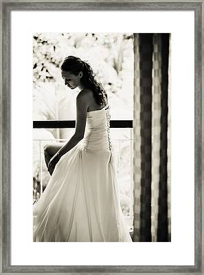 Bride At The Balcony II. Black And White Framed Print by Jenny Rainbow